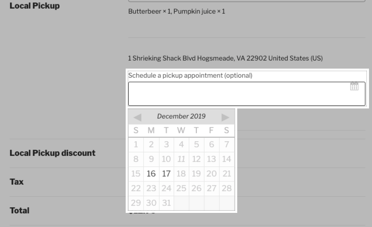 The pickup appointment date selector for the second location.