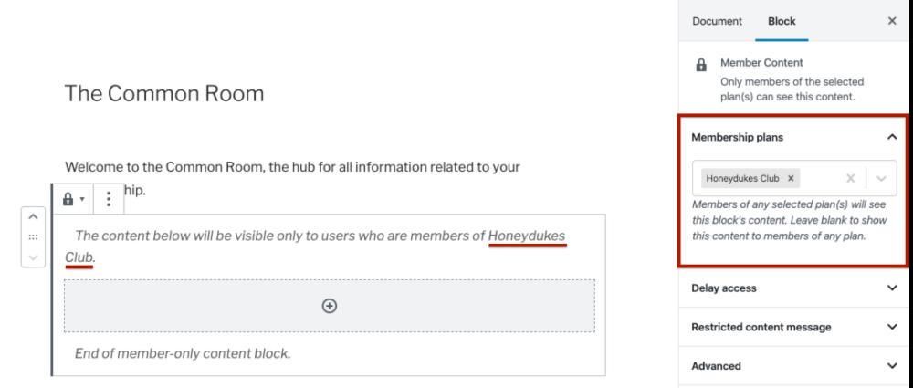 Selecting membership plans in the Member Content block settings.