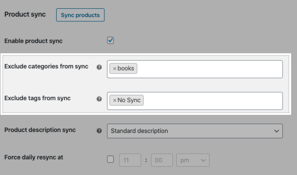 Facebook for WooCommerce product sync settings to exclude syncing product categories and tags