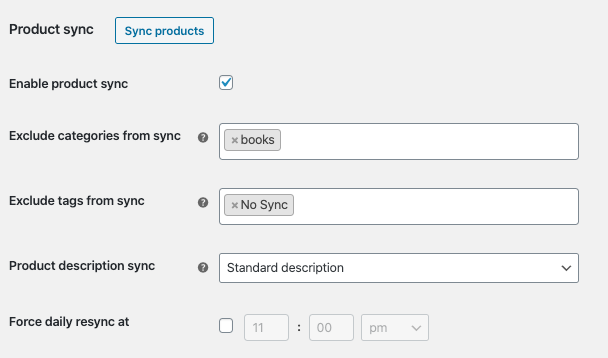 Facebook for WooCommerce product sync settings