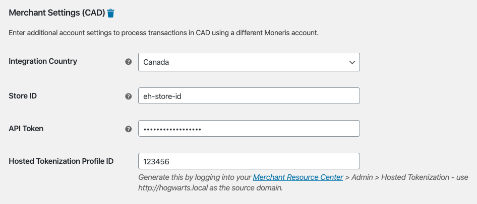 Merchant Settings area for the second account's credentials within the Moneris gateway settings.
