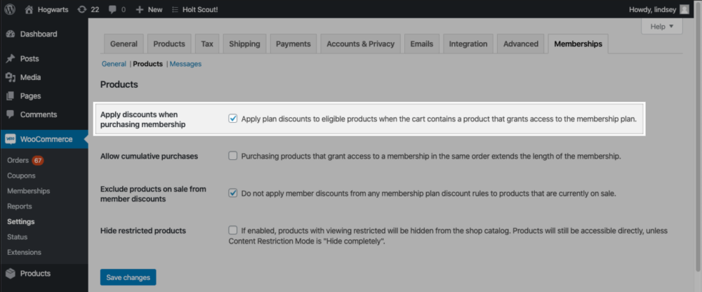 "The ""Apply discounts when purchasing membership"" setting in the Memberships Products settings area."