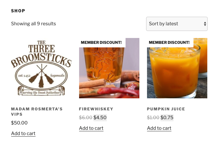 Store notices for discounts applied by the presence of a membership product in the cart.