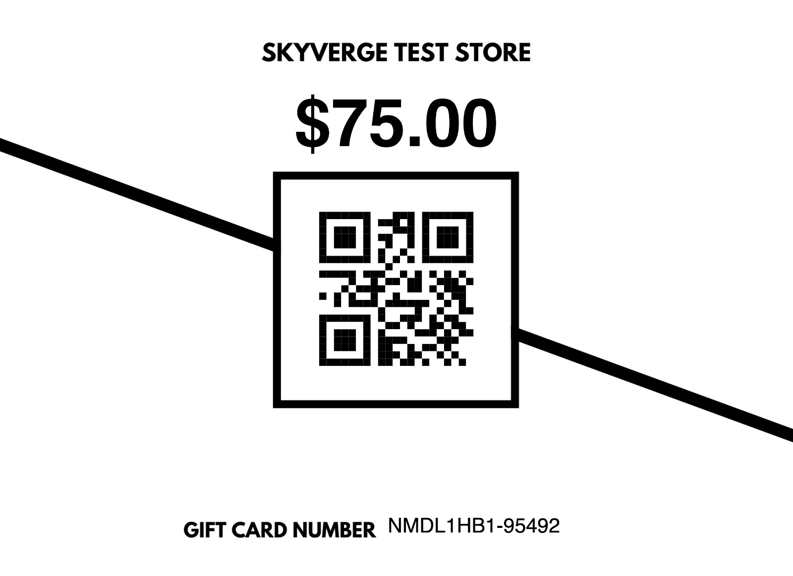 The final version of the gift card.
