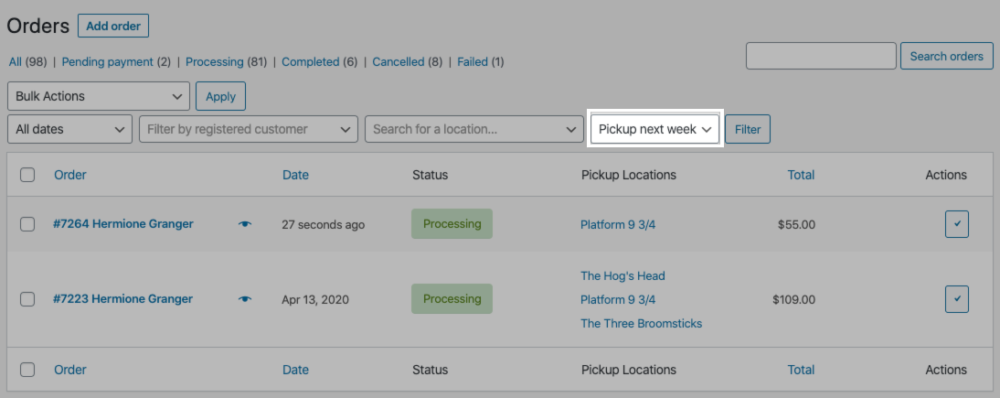 Use the pickup filter on WooCommerce > Orders to view orders by pickup date.