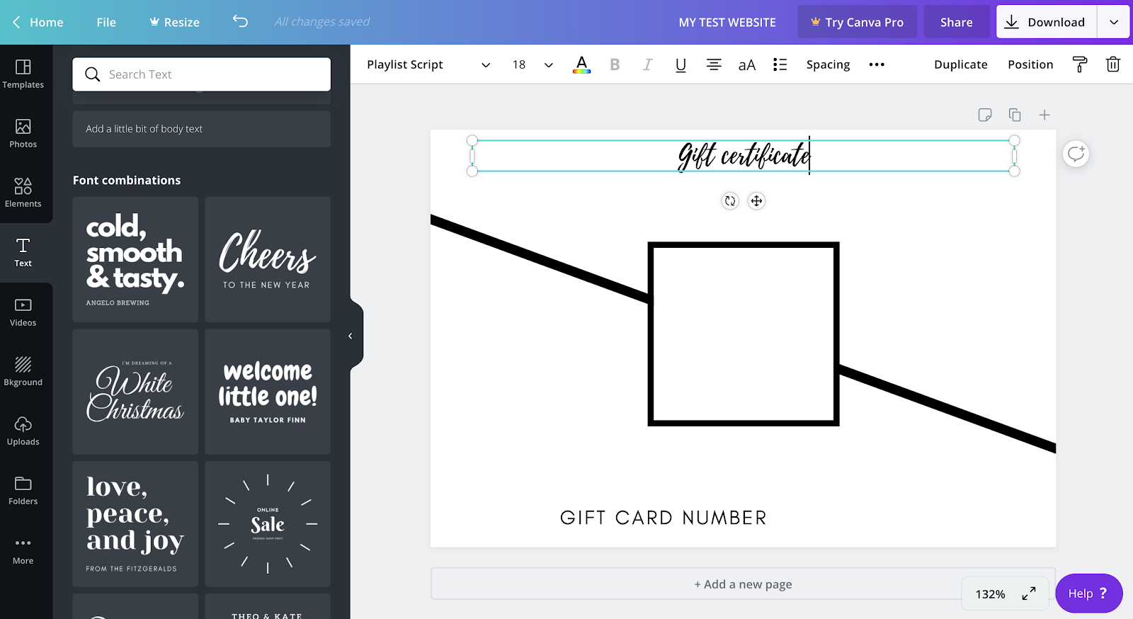 Using Canva to make a template.