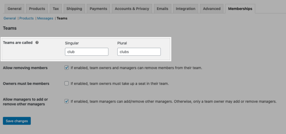 "The ""Teams are called"" setting in the Teams for Memberships plugin settings."