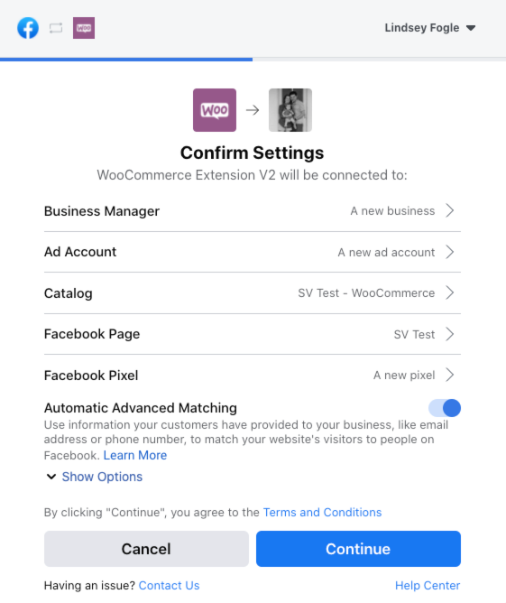 The Confirm Settings step of the Facebook for WooCommerce onboarding process.
