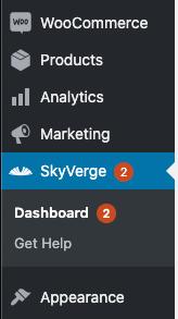 The SkyVerge menu in the WooCommerce admin.