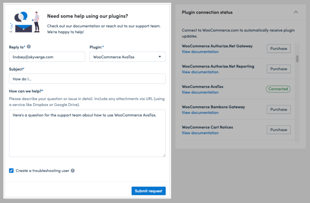 The support form on the SkyVerge > Get Help page.