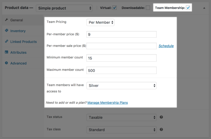WooCommerce Memberships for Teams: team product