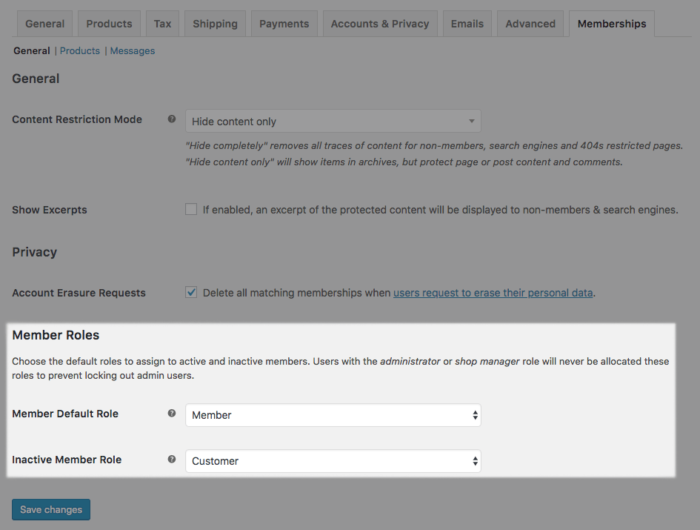 WooCommerce Memberships Role Handler Settings