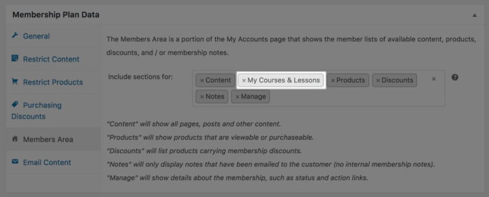 WooCommerce Memberships Sensei Member Area add Sensei section