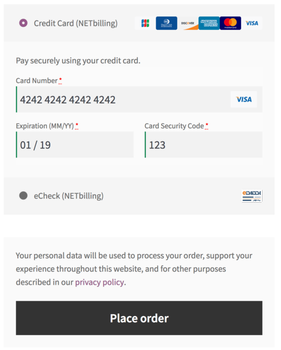WooCommerce NETbilling payment form - credit card