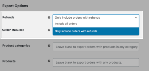 The Refunds option on the Customer/Order/Coupon Export manual export page.